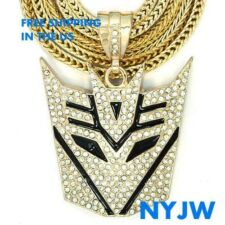 "HIP HOP GOLD PT. TRANSFORMERS DECEPTICON PENDANT WITH 36"" FRANCO CHAIN KC3281G"