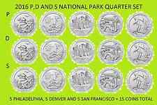 2016 P, D & S America the Beautiful Quarter 15 Coin Set