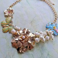 Statement Gold Tone Chunky Enamel Butterfly Flower Pearl Necklace Earring Set
