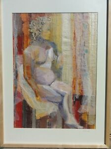 FREDA MORRELL Textile Collage, Framed Picture of a nude  woman, framed