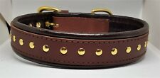 Tan and Brown studded leather dog collar with solid brass hardware