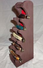 Wooden Knife Display Stand Regular Pocket  Knives Dark Brown Distressed Wood