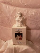 1996 Goebel 21st Annual Christmas Ornament White Bisque Angel-Bell Puppy Germany