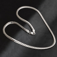 """925 Silver Plated Charm Women Pendant 5MM Side Solid Chain Necklace Jewelry 20"""""""