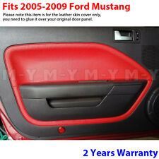 Fits 05-09 Ford Mustang Leather Door Panel Insert Replacement Cover 2pcs RED
