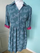 Ness green birds print buttons down dress size 10
