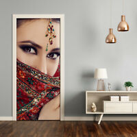 Self adhesive Door Wall wrap removable Peel & Stick Decal People Indian woman