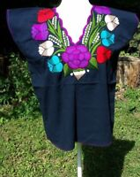Mexican Blouse Shirt Top Embroidered Flowers Huipil Chiapas Medium E39