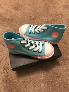 New Toddler Converse Chuck Taylor All Star High Top Sneaker -Aqua/Crimson Pulse