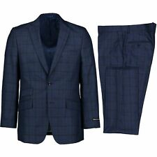 Alberto Cardinali Men's Medium Blue Windowpane Plaid 2 Button Slim Fit Suit NEW