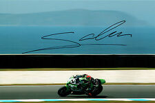 David SALOM 2015 SIGNED WSBK KAWASAKI Rider Autograph 12x8 Photo AFTAL COA