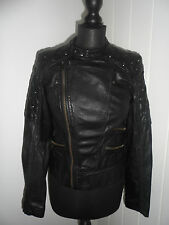 FIRETRAP Hendrix Black Leather Studded Quilted Biker Jacket in Size Small *BNWT*