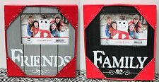 2-SET FRIENDS & FAMILY WOODEN PHOTO FRAMES 4x6 Home Wall Picture Country NEW