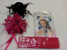 Lot of 4 Beautiful big Hair clips flower necklace earing set headband  free shp