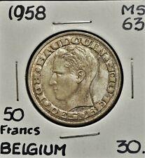 1958 Belgium 50 Francs MS-63