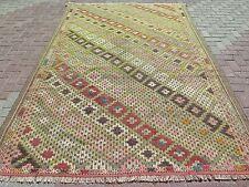 "Vintage Turkish Antalya Rug,Large Kilim,Wool 75,1""x113,7"" Arearugs,Kelim,Carpet"