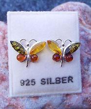 925 Silber Bernstein-Ohrtstecker Schmetterling mit Bernstein in 3 Farben