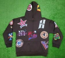 CrossOver Inc Negro League Patch Hoodie Size L Brown Sewn Baseball USA