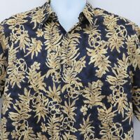 Hilo Hattie Mens L Navy Blue Yellow Floral Lei Hawaiian Aloha Shirt