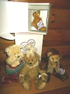 """Annette Funicello Collectible Mohair Teddy Bear 6-14"""" Stocking LOT of 4"""