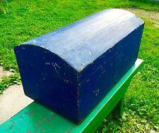 "Primitive Small Dometop Trunk ""Cobalt Blue"" Lady's Trunk/blanket Box"