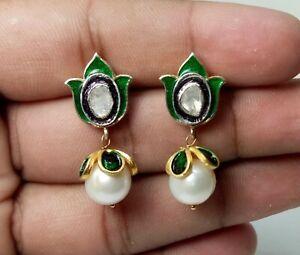 Meenakari Earring Pearl Gemstone Fine Polki Diamond 925 Sterling Silver Earring