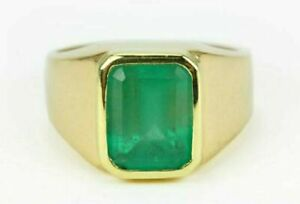 Natural Emerald Gemstone 18K Solid Yellow Gold Men's Ring #2139