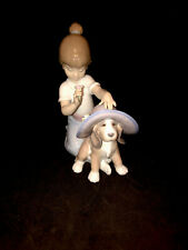 """Lladro """"An Elegant Touch"""" #6862 Girl And Dog Wearing A Hat"""