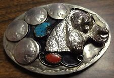 Belt Buckle Alpaca Silver Buffalo Head Nickels Charging Bear Turquoise Coral