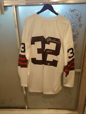 Rare Jim Brown Autographed Signed 1964 M&N Jersey Size 52 & McFarlane figurine