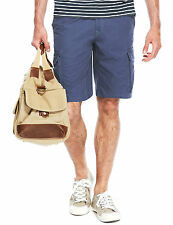 """BNWT M&S COLLECTION Pure Cotton Cargo Shorts W 42"""" Blue"""