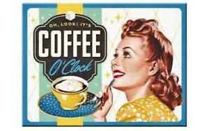 Retro Metal Magnet COFFEE O'CLOCK 8 x 6cm 1950's by Nostalgic Art