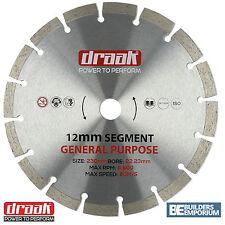 """230mm 9"""" Propósito General Hoja de Diamante Disco de piedra, hormigón, ladrillo Draak"""