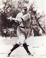 TY COBB DETROIT'S ICON WITH THE PERFECT SWING B/W COPY OF AUTO ON PICTURE