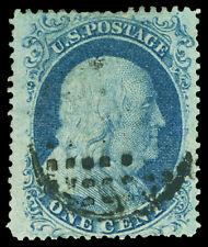 Scott 20 1857 1c Franklin Issue Type II Used VF Black Cancel Cat $260