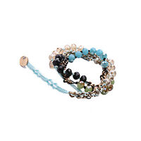 Collier Mi Long ET Bracelet Multirang Doré Cordon Verre Facetté Noir Bleu AZ 2