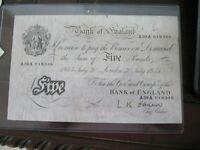 Bank of England 5 pound note 1955 Nice Shape A39A018346