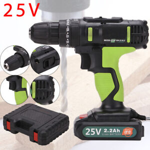 25V Cordless Combi Drill Impact Driver LED Worklight Screwdriver +Li-Ion Battery