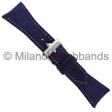 26mm Glam Rock Purple Velvet Genuine Leather Stitched Watch Band EZ PINS