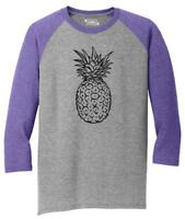 Mens Pineapple 3/4 Triblend Food Graphic