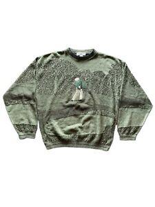 VTG Golf Sweater Large Green Grand Slam Made In USA 70s Penguin Sweatshirt