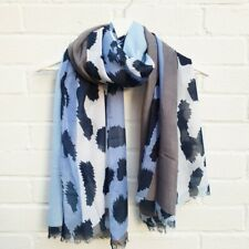Animal Print - Blue Scarf. Grey & ivory wrap, large sarong.