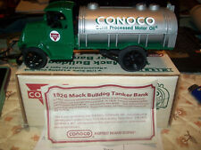 1989 Ertl Diecast 1926 Mack Bulldog Tanker Locking Coin Bank #9750 Conoco #1 NOS