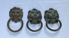 3 Antique Vintage Brass Cast Iron Lion Head Drop Ring Drawer Pulls Patina