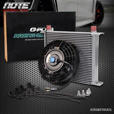 """30 Row 10AN Universal Engine Transmission Oil Cooler + 7"""" Cooling Fan"""