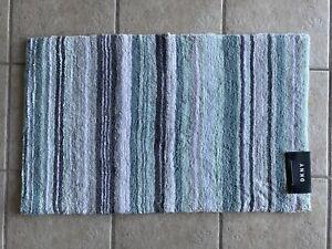 DKNY Bath Mat Rug Aqua Mint Gray White Stripe 20 x 32 Cotton