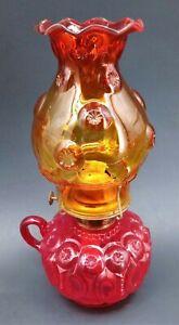 "Vintage Oil Lamp Antique Moon And Stars Amberina 12"" L.E. Smith Hurricane Light"