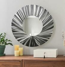 Large Round Silver Metal Mirror Wall Art Accent Metallic Hanging by Jon Allen