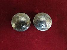 Conchos: 2 Real Coin High Grade Buffalo Nickles, post & screw