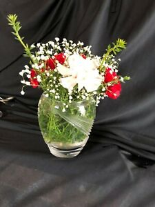 Clear Etched Glass Decorative Vase Great Modern Design